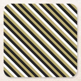Elegant Black White Gold Stripes Pattern Party Square Paper Coaster