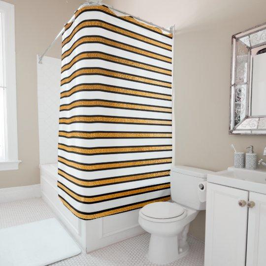 Elegant Black White Golden Stripes Lines Minimal Shower Curtain