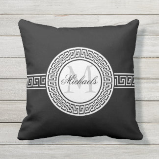 Elegant Black | White Greek Key Monogram Outdoor Cushion