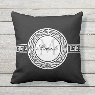 Elegant Black | White Greek Key Monogram Throw Pillow