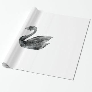 Elegant black white hand painted watercolor swan