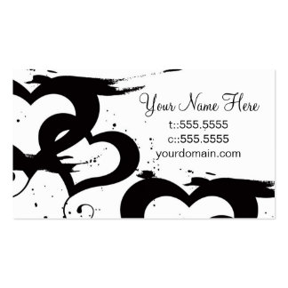 Elegant Black& White Hearts Business Cards