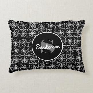Elegant Black & White Lacey Floral w/Monogram Decorative Cushion