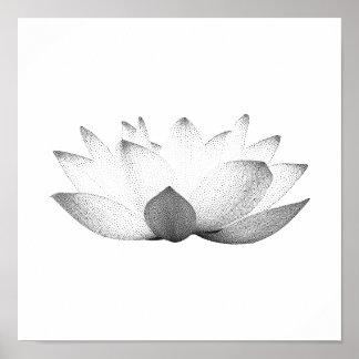 Elegant Black & White Lotus Floral Poster