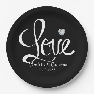 Elegant Black White LOVE Diamond Heart Wedding 9 Inch Paper Plate
