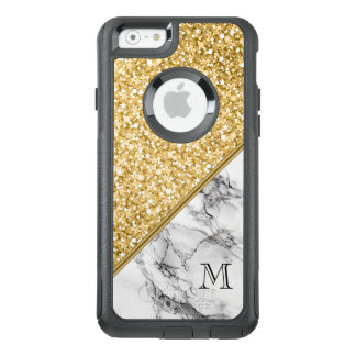 Elegant Black White Marble And Gold Glitter OtterBox iPhone 6/6s Case