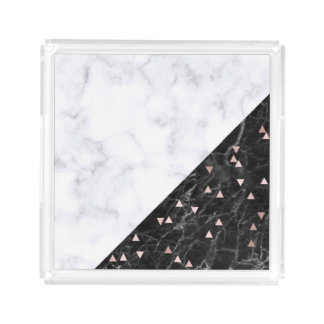 elegant black white marble rose gold geometric acrylic tray