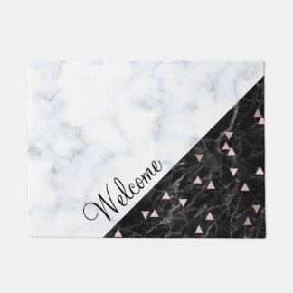 elegant black white marble rose gold geometric doormat