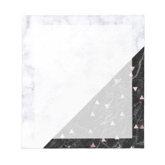 elegant black white marble rose gold geometric notepad