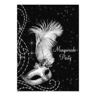 Elegant Black White Masquerade Party Card