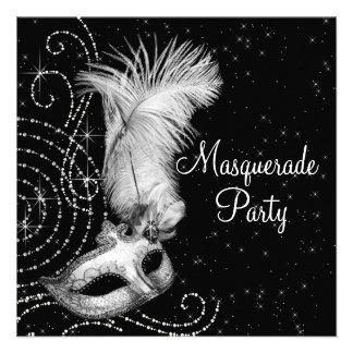 Elegant Black White Masquerade Party Personalized Invite