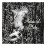 Elegant Black White Masquerade Party Personalized Announcements