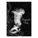 Elegant Black White Masquerade Party Invites