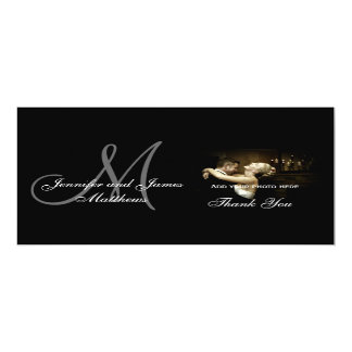 Elegant Black & White Monogram Wedding Thank You Card