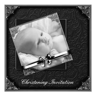 Elegant Black White Photo Christening Personalized Announcements