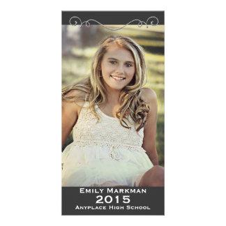 Elegant Black White Photo Graduation Personalized Photo Card