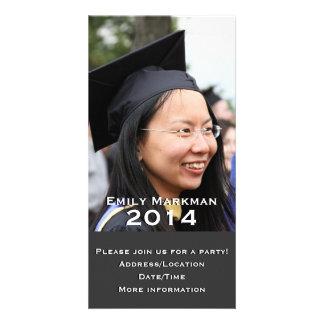 Elegant Black White Photo Graduation Photo Cards