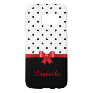 Elegant Black white polka dots red bow monogram
