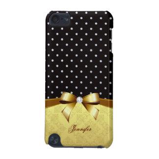 Elegant Black White Polka Golden Ribbon Diamond iPod Touch (5th Generation) Cover