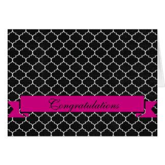 Elegant Black White Quatrefoil Pink Congratulation Card