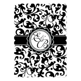 Elegant Black + White Renaissance Swirls Monogram Personalized Announcement Cards