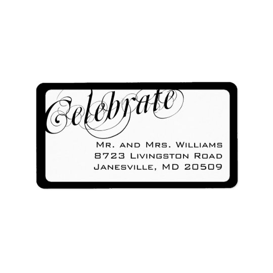 Elegant Black & White Return Address Labels