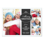 Elegant  Black & White Ribbon 4 Photo Flat Card Personalized Announcements