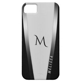 Elegant black white silver 2, name and monogram iPhone 5 cover