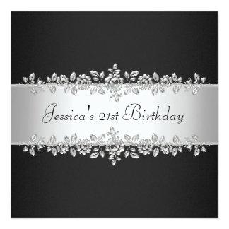 Elegant Black & White Silver Roses Birthday Party 13 Cm X 13 Cm Square Invitation Card
