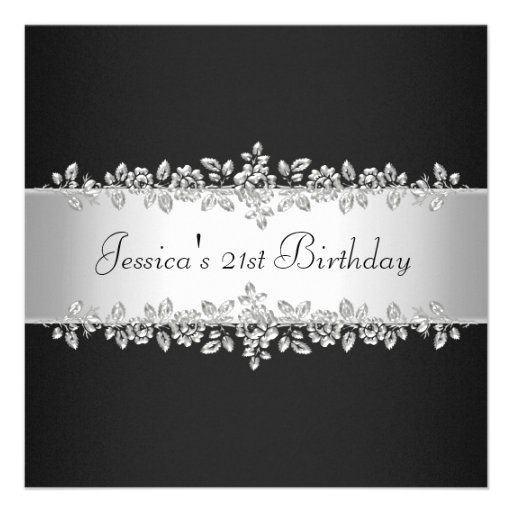 Elegant Black & White Silver Roses Birthday Party Custom Invitation