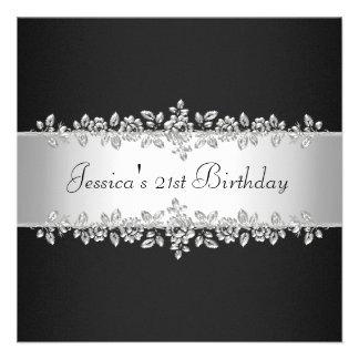 Elegant Black White Silver Roses Birthday Party Custom Invitation