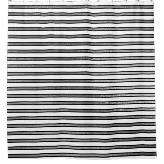 Elegant Black White Silver Stripes Lines Minimal Shower Curtain