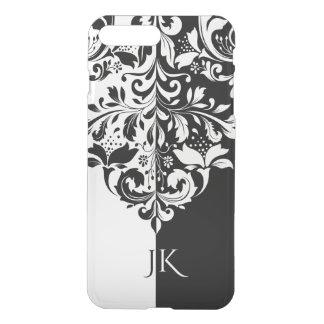 Elegant Black & White Spit Screen Floral Ornament iPhone 8 Plus/7 Plus Case