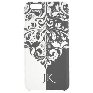 Elegant Black & White Spit Screen Floral Swirl Clear iPhone 6 Plus Case