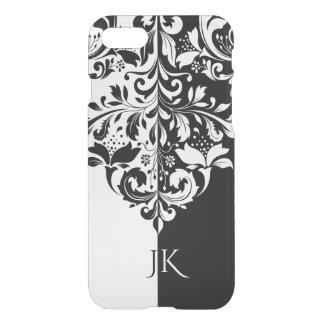 Elegant Black & White Spit Screen Floral Swirl iPhone 8/7 Case