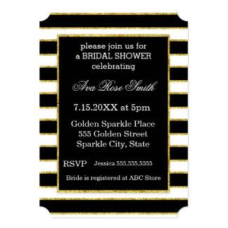 Elegant Black+White Stripe & Gold Bridal Shower Card