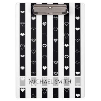 Elegant Black White Stripes Modern Heart Pattern Clipboard