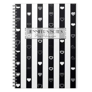 Elegant Black White Stripes Modern Heart Pattern Notebooks