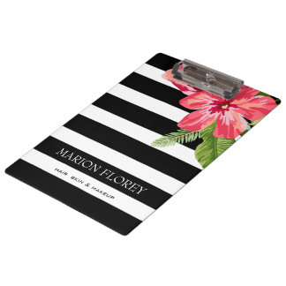 Elegant Black White Stripes With Exotic Flowers Clipboard