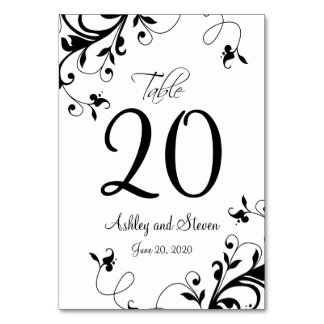 Elegant Black White Swirls Wedding Table Card