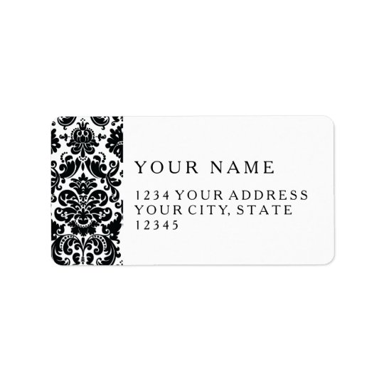 Elegant Black White Vintage Damask Pattern Address Label