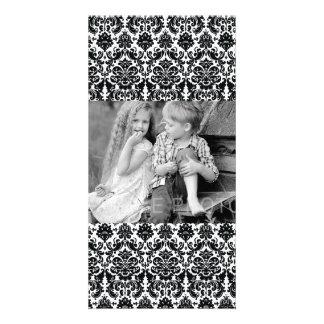Elegant Black White Vintage Damask Pattern Customised Photo Card