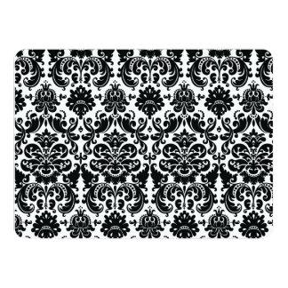 Elegant Black White Vintage Damask Pattern 14 Cm X 19 Cm Invitation Card
