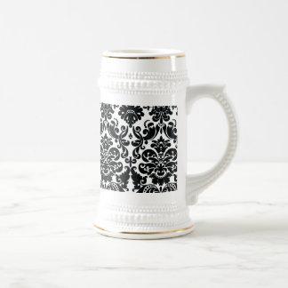 Elegant Black White Vintage Damask Pattern Beer Steins