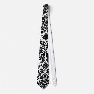 Elegant Black White Vintage Damask Pattern Tie