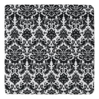 Elegant Black White Vintage Damask Pattern Trivet