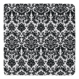 Elegant Black White Vintage Damask Pattern Trivets