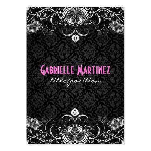 Elegant Black & White Vintage Floral Swirls Business Card Template