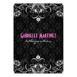 Elegant Black & White Vintage Floral Swirls Pack Of Chubby Business Cards