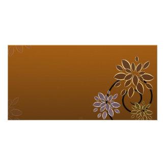 Elegant blossom on chocolate texture customized photo card